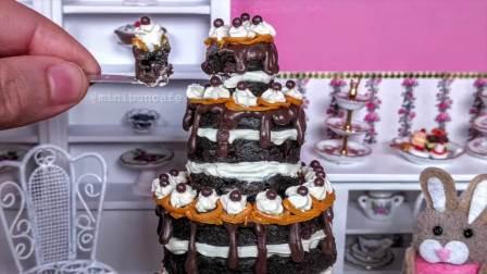 儿童亲子互动,迷你巧克力蛋糕!可食用的迷你食品!