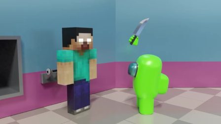 Among Us 3D动画:史蒂夫还能免疫物理伤害?