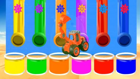 给工程车挖掘机染色 创意玩具