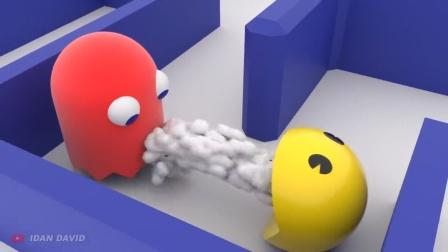 动画:吃豆人吃了个绿球,结果吐了一堆球