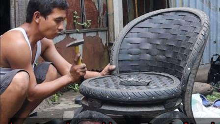 农村大叔专门收购旧轮胎,切开后制作成椅子,成品供不应求