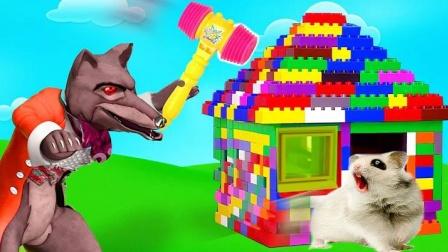 仓鼠盖房子,大灰狼竟来偷袭