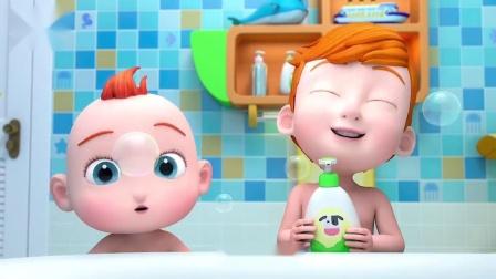 超级宝贝jojo:小宝贝在浴室洗澡,注意别摔跤喔