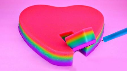 美食达人新创意,自制彩虹爱心布丁,一刀下去超治愈!