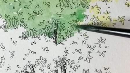 在楼下画小树,他们说太难看了,当我画完他们尴尬了