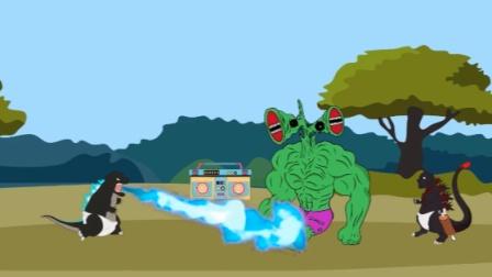 动画:小哥斯拉被欺负,蜘蛛侠来帮忙结果倒霉了