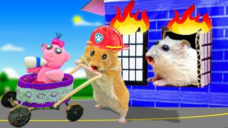 爱玩的仓鼠:大仓鼠营救小仓鼠警署消防车,还帮助了小仓鼠!