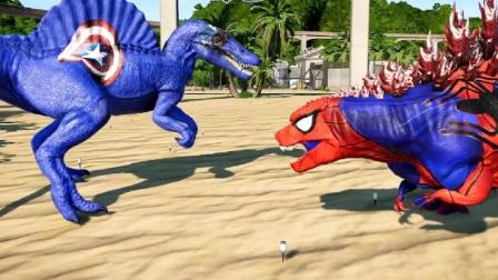 侏罗纪世界:哥斯拉恐龙光靠怒吼声,就让棘龙怕了