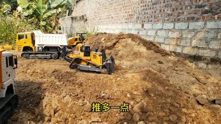 装载车推土机和挖掘机玩具,儿童仿真工程车玩具