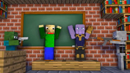 我的世界:怪物学院开课了 巴迪和灭霸从天花板降下砸到HIM老师