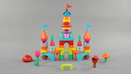 用积木拼搭一座城堡需要多少步?儿童玩具试玩