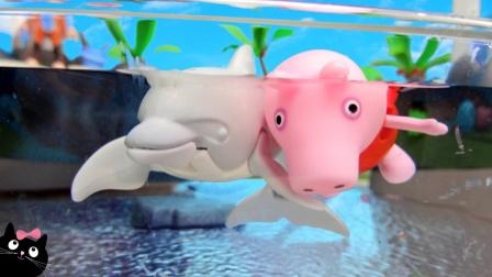 小猪佩奇亲子游戏玩具,粉红猪小妹全家参观水族馆,看到海豚吗?