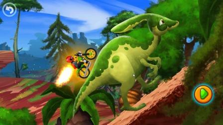 汽车游戏:小帅哥骑摩托来比赛