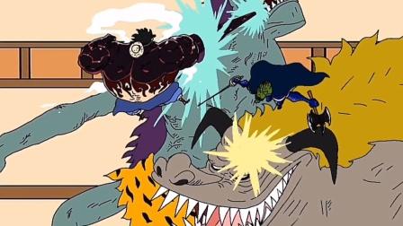 海贼王同人动画,山治VS烬灾,四档路飞登场