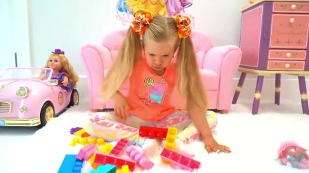 萌宝小可爱:萌娃用魔法棒变出了积木,好好玩