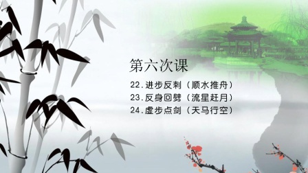 32式太极剑教学:22.进步反刺23.反身回劈24.虚步点剑
