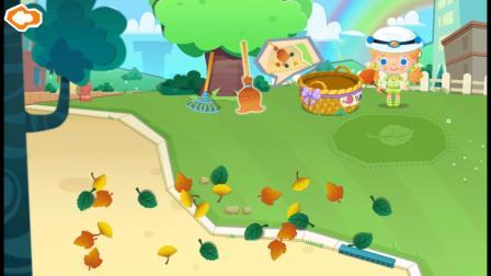 糖糖小镇小游戏,快把树叶扫干净吧!