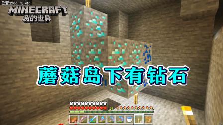 我的世界311:蘑菇岛下有钻石!幸好我带了时运3,直接开挖!