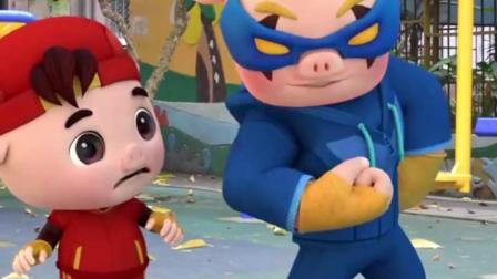 是时候表演真正的技术了,猪猪侠超人强比肌肉