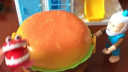 好大一个汉堡啊,汉堡却切不动,该怎么打开这个汉堡呢