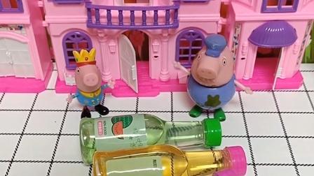 猪爷爷带回了很多东西,乔治以为是饮料,猪爷爷说乔治误会了