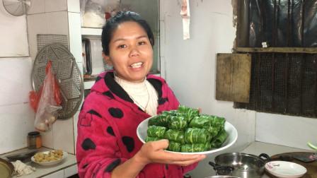 猪肉太贵吃不起?小年夜八妹挖回一篮子野菜,做的菜卷比肉还好吃