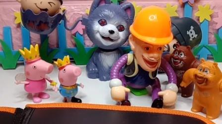 光头强破坏了乔治的画像,熊大熊二帮乔治惩罚了光头强