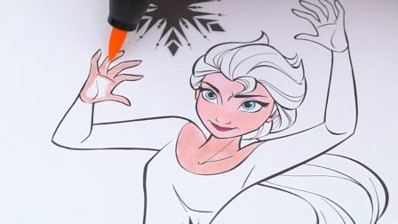 冰雪奇缘动画中施展法力的艾莎公主漫画涂色游戏