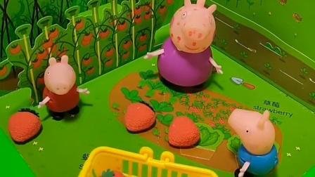 猪奶奶提着篮子出去,猪奶奶要去摘草莓,乔治佩奇也想去