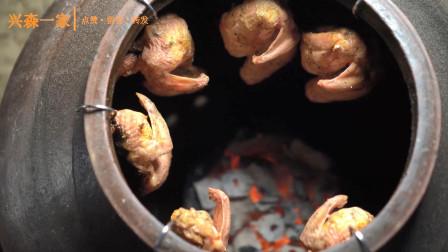 韩国兴森一家三口:家庭自制碳炉!用木炭烤制成的鸡肉!