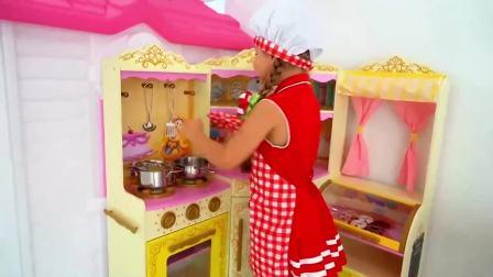 萌宝小可爱:小萝莉变身厨师,好好玩呀
