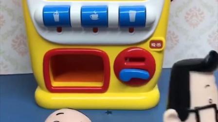 大头儿子想喝饮料,小头爸爸说换牙对牙齿不好,大头儿子不听