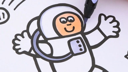 登上月球的小小宇航员儿童卡通简笔画涂色