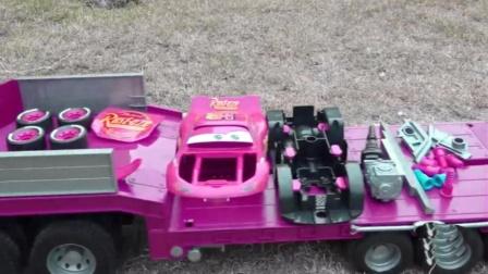 托运车带着跑车组件重组跑车