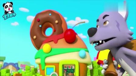 宝宝巴士:大灰狼来到了快餐店,变成强盗,抢走了店里甜甜圈!