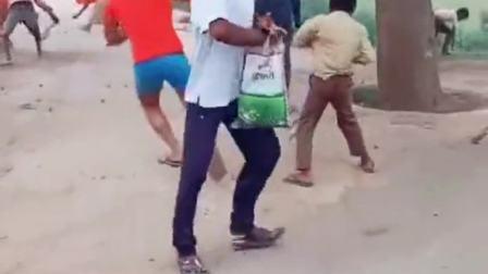 印度街头奇观,大风帮忙摇果树,村民抢的不亦乐乎!