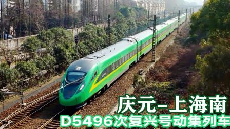 庆元开往上海南的复兴号动集列车,8节编组的D5496次通过杭州段