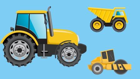 玩工程车游戏 气球变成拖拉机 压路机好多的工程车