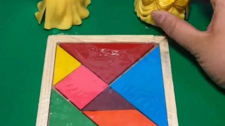 白雪买了好玩的七巧板,她给贝儿拼好了一个小动物,她拼的是什么动物呢
