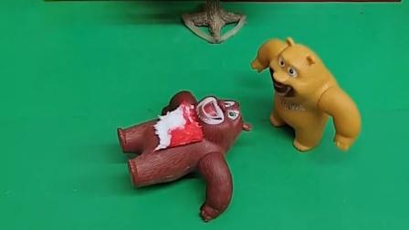 熊大被怪兽打伤了,熊二要救他,向小奥特曼要胶囊救熊大