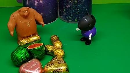熊大叔在分糖果,蝎子精看见了,蝎子精也想吃糖果