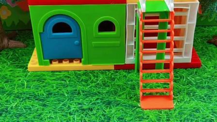 乔治上房顶玩,结果发现猪爸爸偷吃大汉堡,乔治就去告诉了猪妈妈