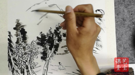 王俊之老师,中国画基础绘制技法系列,听泉图上