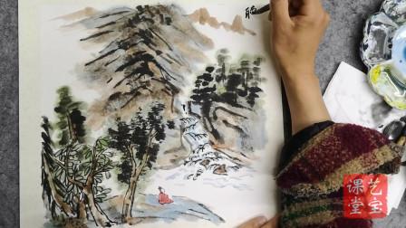 王俊之老师,中国画基础绘制技法系列,听泉图下