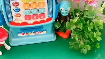 僵尸躲在树丛里,等着抓小朋友,结果被乔治和大宇都发现了