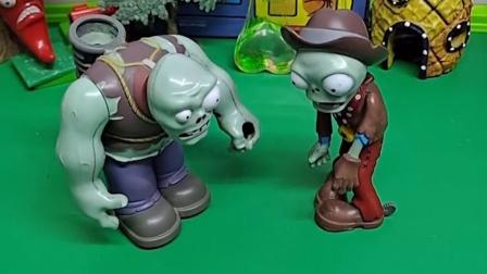 僵尸告诉巨人僵尸,说小鬼被人欺负了,巨人僵尸着急来游乐场看