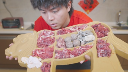 小伙新年自制全牛宴,满满一大桌牛肉,体验吃肉吃到饱是什么感觉