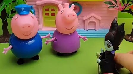 女巫把猪爷爷变成糖果了,佩奇乔治来帮助他们,小朋友快来看看