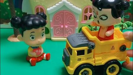 哪吒和莱德都有事,不让嘟嘟坐车,光头强叫嘟嘟坐自己的车