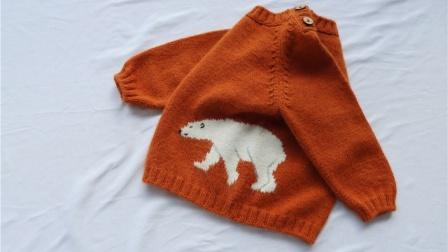 【北极熊】1/2集 新手学习棒针编织视频教程   亲子插肩卡通毛衣 乖诺诺